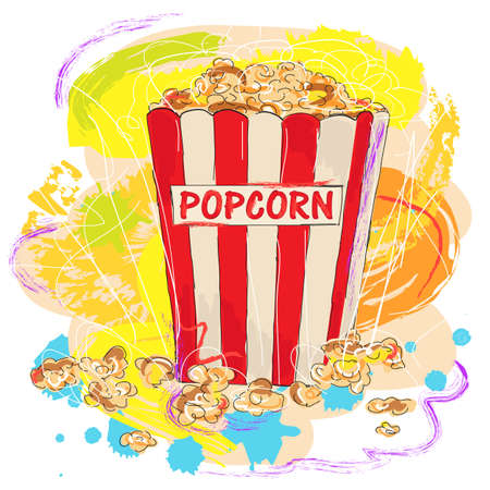 colorful tasty popcorn, created as very artistic painterly style for your design Illustration