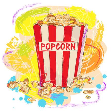 utworzonych: kolorowe smaczne popcorn, stworzony jako bardzo artystycznym stylu malarskiego do projektowania Ilustracja