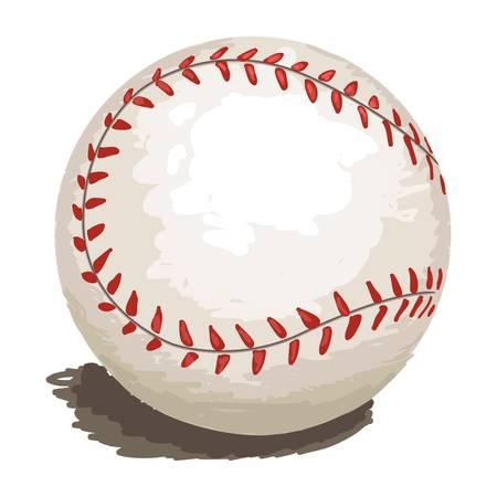 softbol: auto ilustrado de béisbol, creado como estilo pictórico para su diseño aislado en blanco