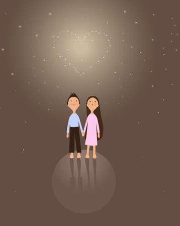 background with cute little girl and boy for your valentine design Vector