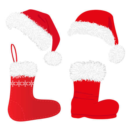 stocking cap: set of beautiful  red christmas caps and socks, isolated on white