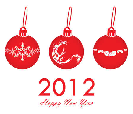 three red christmas balls 2012 isolated on white background Stock Vector - 10549165