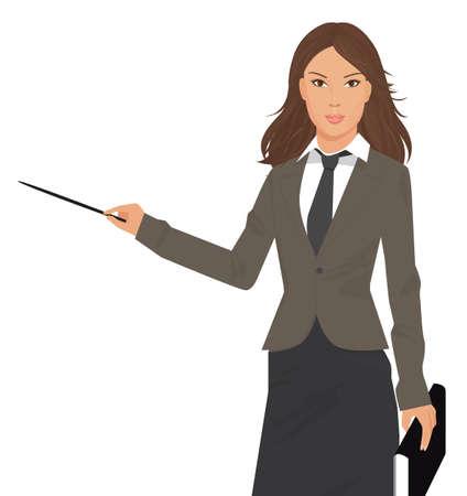 Ilustración de una mujer joven hermosa con el puntero de negocios aislados en blanco, para su información y diseño