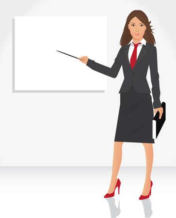 教師: 說明年輕的女商人與指針為空標語牌,為您的信息和設計