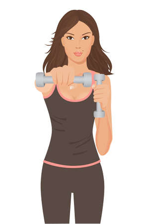 illustration of a beautiful young fitness woman doing exercises with dumbbells, isolated on white for your design