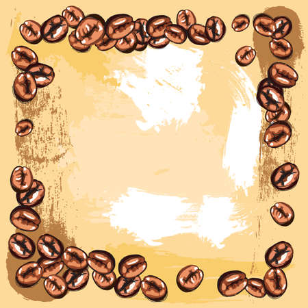 created: hand drawn сoffee beans frame, created as very artistic painterly style for your design
