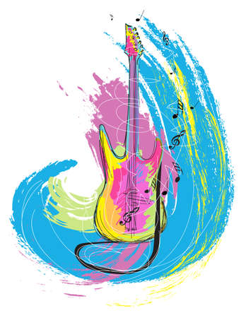 musical notes: colorful hand drawn illustration of electric guitar, created as very artistic painterly style for your design, isolated on white
