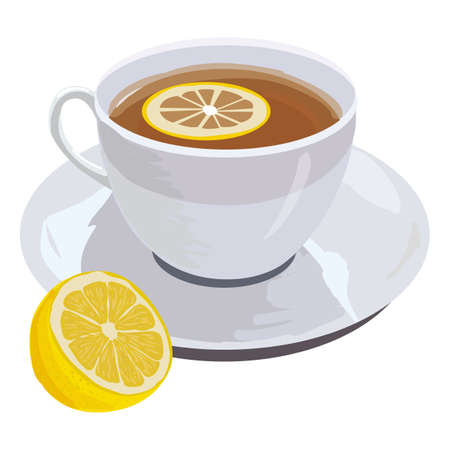 british foods: hand drawn illustration of cup of fragrant black tea with lemon, isolated on white for your design