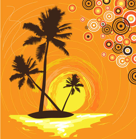 sanatorium: abstract stylized illustration of a tropical palm island at sunrise or sunset Illustration