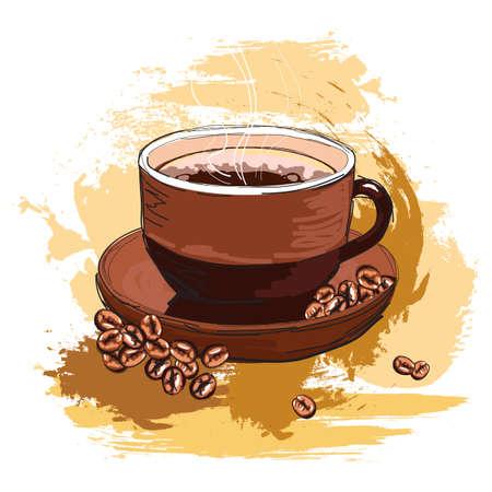 wyciągnąć rękę smaczną kawę i fasola, utworzony jako bardzo artystycznym stylu malarskiego do projektowania, odizolowane na białym