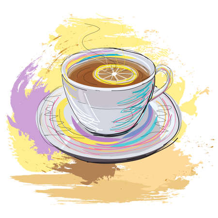 recess: colorful hand drawn illustration of cup of fragrant black tea with lemon, created as very artistic painterly style for your design, isolated on white