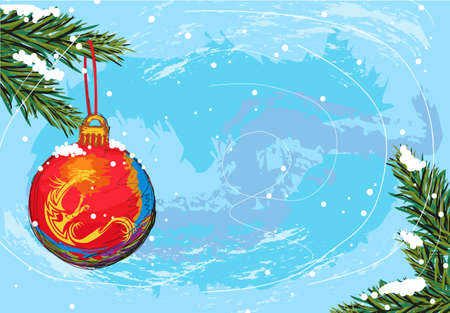 hand drawn illustration of beautiful christmas background, elements are grouped, easy to edit Stock Vector - 10751341