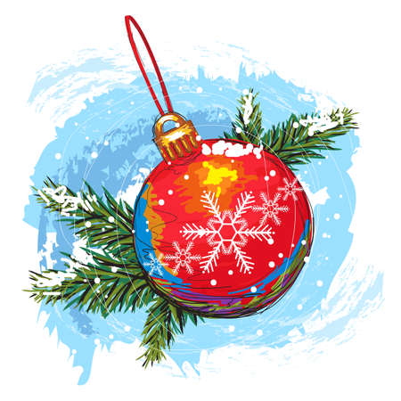 painterly: colorful hand drawn christmas ball isolated on white, created as artistic painterly style, elements are grouped, easy to edit