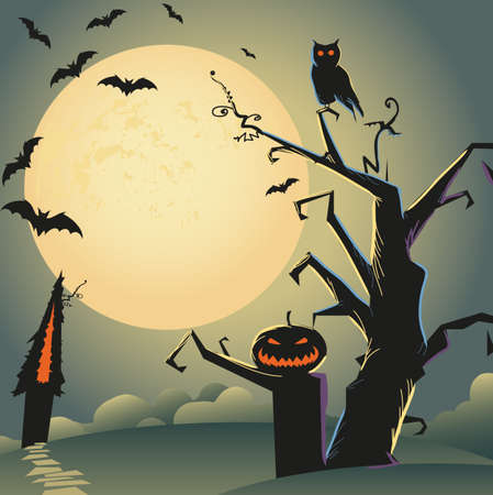 halloween cartoon: self illustrated beautiful halloween background for your design Illustration
