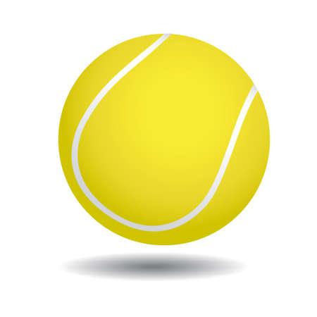 고립 된: 흰색에 고립 된 노란색 테니스 공의 현실적인 그림, 일러스트