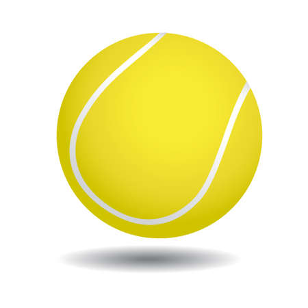 tennis racket: realistic illustration of yellow tennis ball, isolated on white Illustration