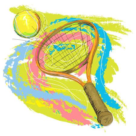 raqueta tenis: mano dibujada ilustraci�n de raqueta de tenis y ball, creado como estilo pict�rico muy art�stico para el dise�o, aislado en blanco
