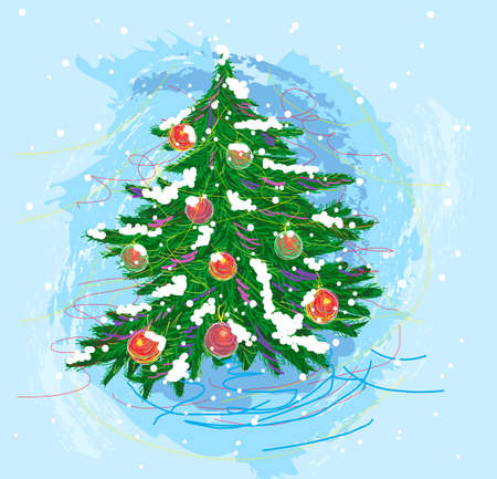 painterly: self illustrated christmas tree, created as artistic painterly style, elements are grouped