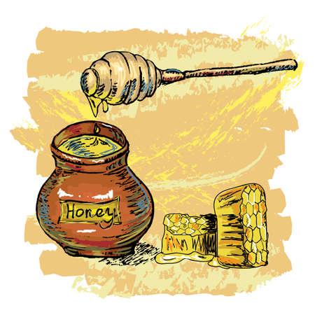 hive: dibujado a mano tarro de miel con panal, creado como estilo pict�rico art�stica, los elementos se agrupan, f�cil de editar Vectores
