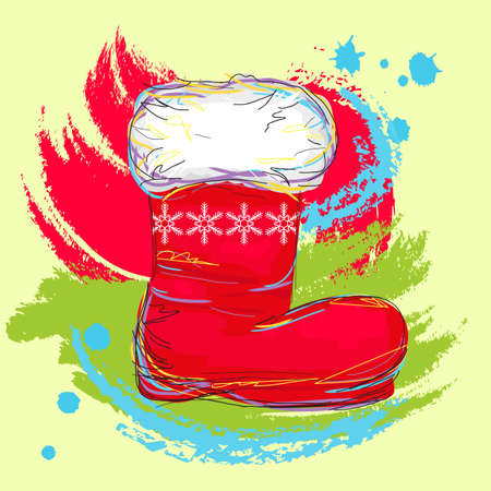 painterly: self illustrated santa boot, created as artistic painterly style, for your design
