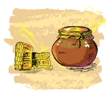 hand drawn honey jar and honeycombs, created as artistic painterly style, elements are grouped, easy to edit Vector