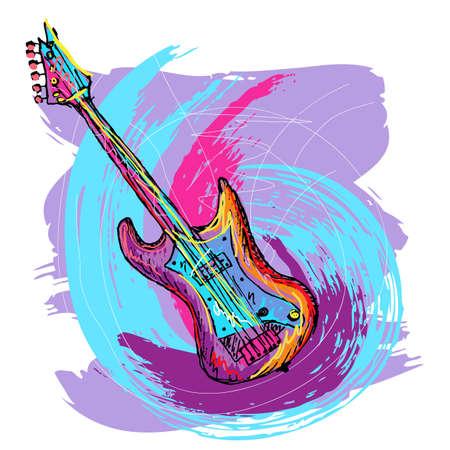 vintage grunge image: disegnati a mano illustrazione colorata di chitarra elettrica, creata come molto artistica pittorica, per la progettazione, facile da modificare