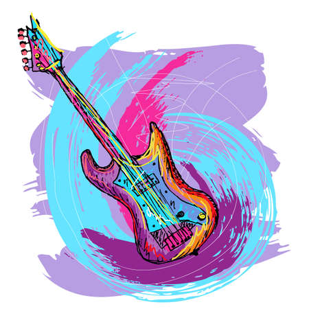 rock   roll: hand drawn colorful illustration of electric guitar, created as very artistic painterly, for your design, easy to edit