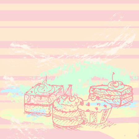 vanilla cake: hand drawn tasty cakes background, created as very artistic painterly Illustration