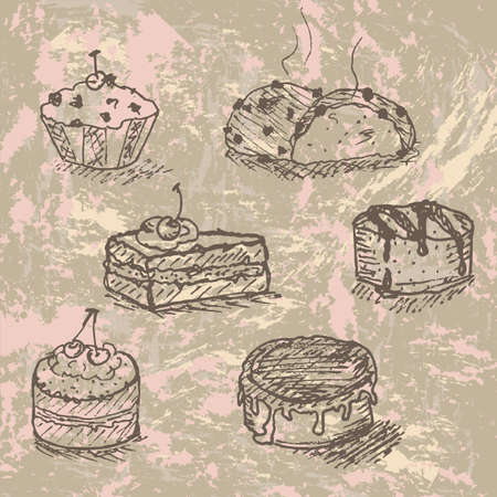 hand drawn vintage set of tasty cakes , created as very artistic painterly style, easy to edit Vector
