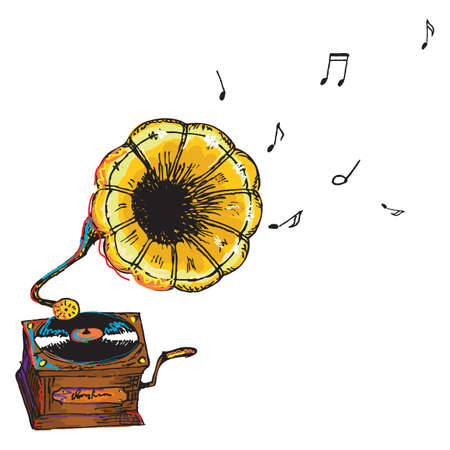 painterly: hand drawn vintage gramophone, created as very artistic painterly style for your design, isolated on white