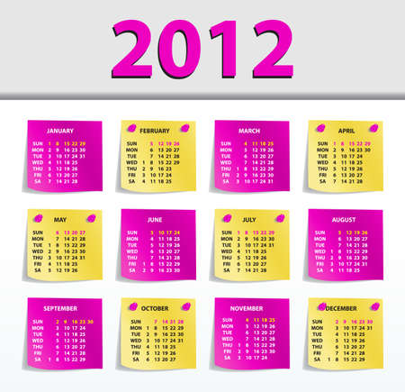 stylish calendar for 2012, all elements are in separate layers and grouped, easy to edit Vector