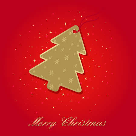 christmas card with christmas tree label on red, elements are in separate layers and grouped, easy to edit Vector