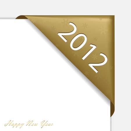 nastro angolo: Natale d'oro angolo nastro - nuovo anno 2012, eps 10, gli elementi sono in strati separati e raggruppati, facile da modificare
