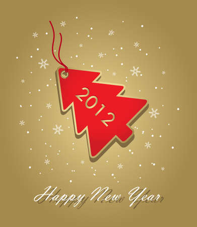 new year 2012 card with red christmas tree label on gold, elements are in separate layers and grouped, easy to edit Vector