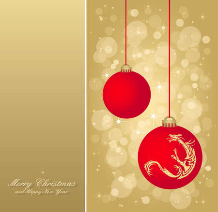 gold christmas flyer and with red balls, elements are in separate layers and grouped, easy to edit, eps 10 Vector