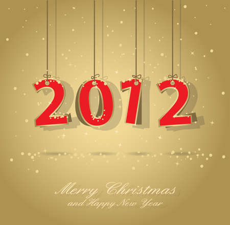 happy new year 2012 gold and red greeting card, elements are in separate layers and grouped, easy to edit, eps 10 Vector