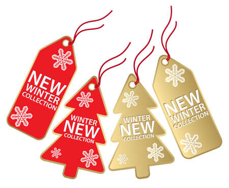 new christmas gold and red new winter collection labels isolated on white Vector