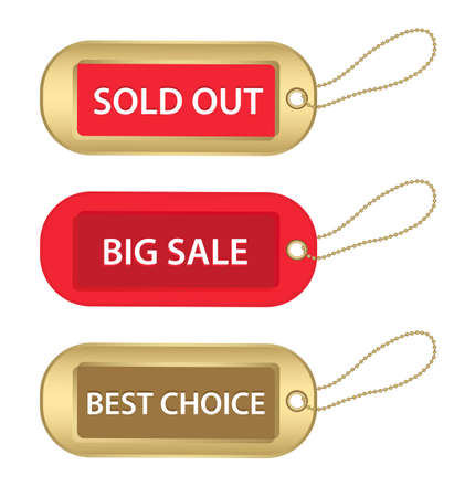 sold out: new christmas gold and red  big sale, sold out and best choice tags, isolated on white
