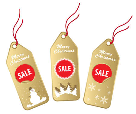 new christmas gold and red sale labels isolated on white Illustration