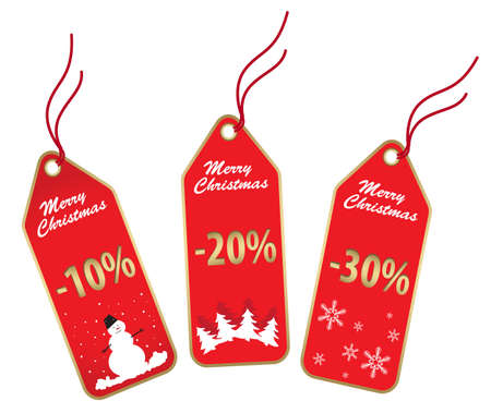 new christmas gold and red sale labels isolated on white Vector