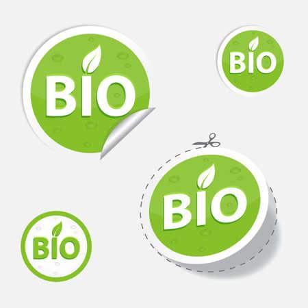 bio etiquetas verdes y etiqueta, para su diseño, eps 10 Ilustración de vector