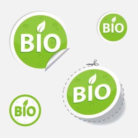 bio green labels and sticker, for your design, eps 10 Vector