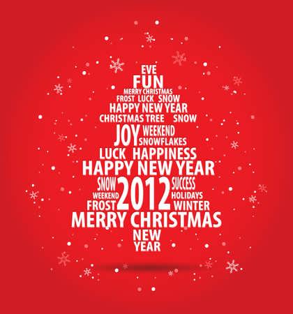 originales: resumen de tarjeta de Navidad con el �rbol de las palabras temporada en fondo rojo con copos de nieve, todos los elementos est�n en capas separadas y agrupados, f�cil de editar