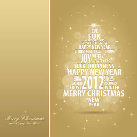 abstract christmas gold card with tree of season words on red background with snowflakes, all elements are in separate layers and grouped, easy to edit, eps 10 Illustration
