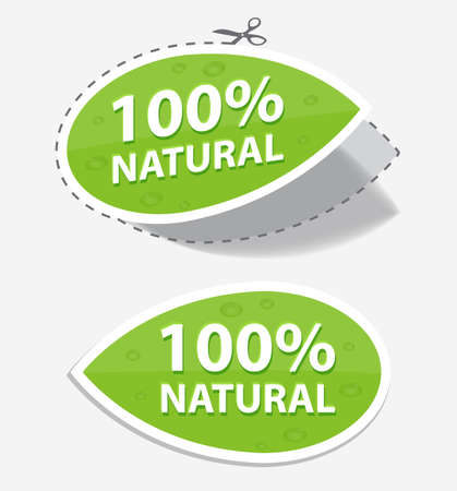 natural green labels, for your design, eps 10 Vector