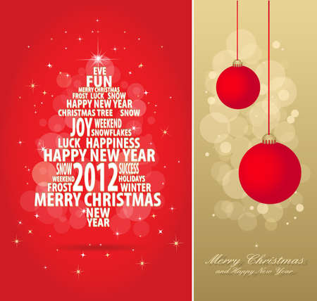abstract christmas gold and red card with tree of season words, all elements are in separate layers and grouped, easy to edit, eps 10 Vector