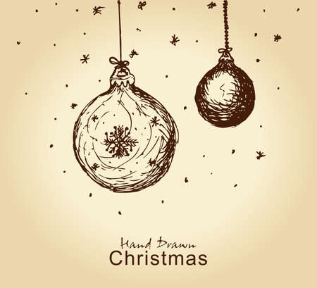 fir cone: dibujado a mano de �poca de navidad bolas de navidad de dise�o Vectores