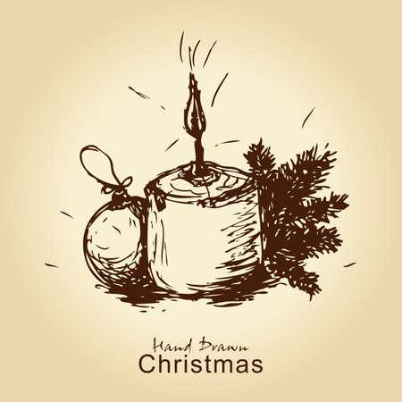 fir cone: dibujado a mano vendimia tarjeta de Navidad con bolas, candel y rama de abeto, de Navidad de dise�o