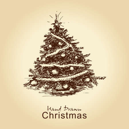 hand drawn vintage christmas tree for xmas design, with balls Vector