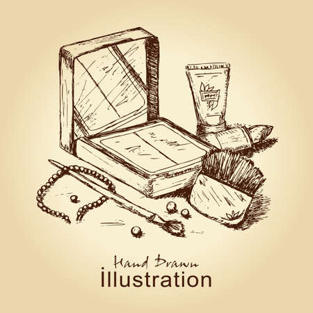 makeup brushes: hand drawn vintage card with cosmetics set, for fashion design